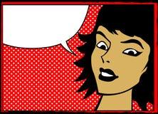 Retro- Mädchen mit Spracheluftblase Lizenzfreie Stockfotos