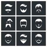Retro mäns uppsättning för symbol för hårstilar Royaltyfri Bild