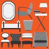 Retro- Möbel und Wohnaccessoires stockbild