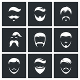 Retro mężczyzna Włosianych stylów ikony set Obraz Royalty Free