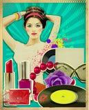 Retro młoda kobieta z mod akcesoriami na starym plakacie Obrazy Stock