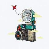 Retro macchina fotografica con gli uccelli Immagini Stock Libere da Diritti