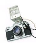 Retro macchina fotografica con il flash Immagini Stock Libere da Diritti