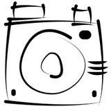 Retro macchina fotografica di schizzo isolata su bianco Fotografia Stock