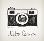 Retro macchina fotografica disegnata a mano della foto dei pantaloni a vita bassa di vettore Fotografie Stock