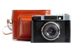 Retro macchina fotografica e caso Immagini Stock Libere da Diritti