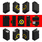 Retro macchina fotografica isometrica della foto, 3D Insieme 1 Fotografia Stock