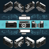 Retro macchina fotografica isometrica della foto, 3D Insieme 2 Immagini Stock Libere da Diritti