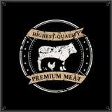 Retro macellaio disegnato Shop Label Template con le siluette degli animali da allevamento Fotografia Stock Libera da Diritti
