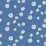Retro madeliefje eenvoudig blauw bloemen naadloos vectorpatroon vector illustratie