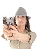 Retro mafia girl with hat. Retro style mafia girl with gun and hat isolated on white background Royalty Free Stock Photography