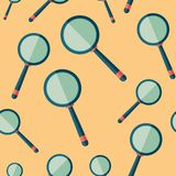 Retro magnifier flat icon seamless pattern. Colorful detailed and realistic flat design style icon seamless pattern Royalty Free Stock Photos