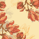 Retro magnolia flowers card Stock Image