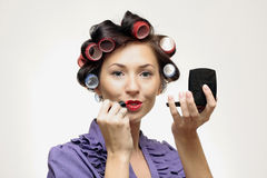 Retro makeup Housewife Royalty Free Stock Image
