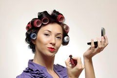 Retro makeup Housewife Royalty Free Stock Photos
