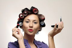 Retro makeup Housewife Royalty Free Stock Photos