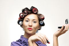 Retro makeup Housewife. Funny Housewife typical in 60s Royalty Free Stock Photos