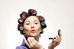 Retro makeup Housewife. Funny Housewife typical in 60s Stock Images