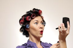 Retro makeup Housewife. Funny Housewife typical in 60s Royalty Free Stock Images