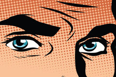Retro male blue eyes pop art. Pop art retro vector. Look man illustration. Blue eye color retro vector Royalty Free Stock Image