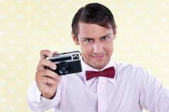 Retro Male with Camera Royalty Free Stock Photo