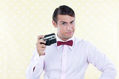 Retro Male with Camera Stock Images