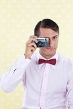 Retro Male with Camera Stock Photos