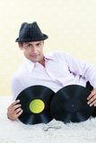Retro Male with Vinyl Record Royalty Free Stock Images