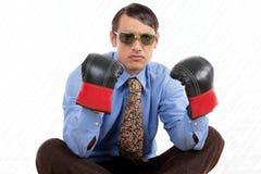 Retro Male Wearing Boxing Gloves. Retro business man wearing boxing gloves Royalty Free Stock Photos