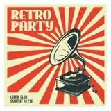 Retro malplaatje van de partijaffiche met oude grammofoon Vector uitstekende illustratie Royalty-vrije Stock Fotografie