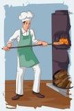 Retro man baking pizza in fire oven. Concept of retro man baking pizza in fire oven. Vector illustration Stock Photos