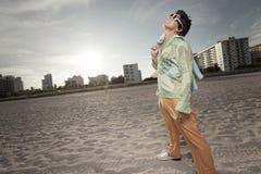 Retro man on the beach Royalty Free Stock Photo