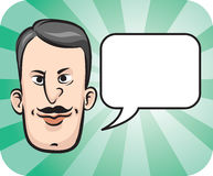 Retro man face with speech bubble. Vector illustration of Retro man face with speech bubble. Easy-edit layered vector EPS10 file scalable to any size without Royalty Free Stock Photography