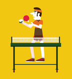 Retro man holding a ball and a ping pong. Royalty Free Stock Photos