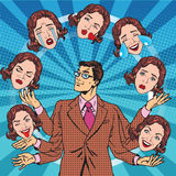 Retro man juggles the emotions of women Royalty Free Stock Images