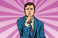 Retro man making silence gesture shhh. Pop art vector, realistic hand drawn illustration Royalty Free Stock Images