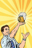Retro man and mug of beer Stock Photo