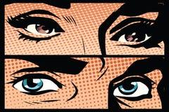 Retro man- och för kvinnligögonnärbild popkonst royaltyfri illustrationer