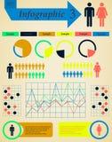 Retro man och kvinna för Infographics beståndsdeluppsättning - Arkivfoto