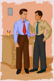 Retro man in office with colleague. Concept of retro man in office with colleague. Vector illustration Stock Image
