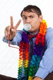 Retro Man Peace Sign Stock Photo