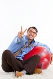 Retro Man with Pilates Ball Stock Photos