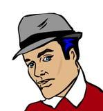 Retro man portrait. Vintage pinup style hat Stock Images