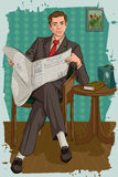 Retro man reading newspaper Royalty Free Stock Images