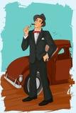 Retro man smoking cigar pipe Royalty Free Stock Photos