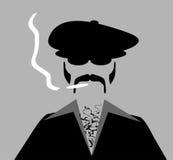 Retro man smoking marijuana cigarette Stock Image