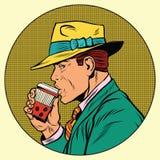 Retro man som dricker kaffe royaltyfri illustrationer
