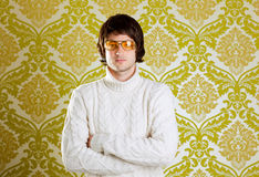 Retro man vintage glasses and turtleneck sweater Royalty Free Stock Photos