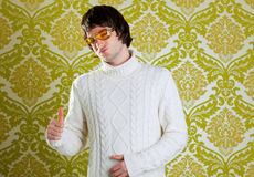 Retro man vintage glasses and turtleneck sweater Stock Image