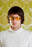 Retro man vintage glasses and turtleneck sweater Stock Images